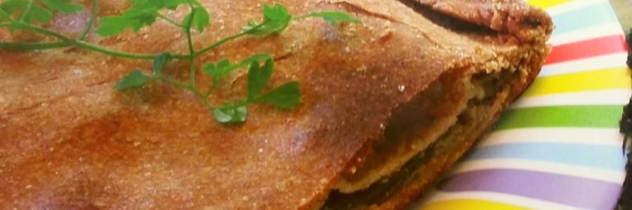 empanada de puerros y alga wakame