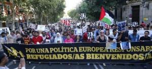 Manifestación en Madrid en solidaridad con las personas refugiadas sirias
